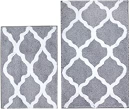 "Pauwer Non Slip Bath Rug Set of 2, Geometric Microfiber Bath Mats Absorbent Shower Rug Set 2 Piece Machine Washable (18""×2..."