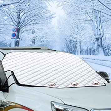 Cosyzone Car Windshield Snow Cover, 4 Layers of Protection and Embedded Magnets Car Windshield Protector for Car Trucks Vans and SUVs Stop Scraping with a Brush or Shovel: image