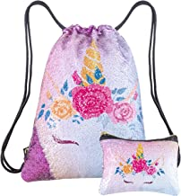 Merrycolor Unicorn Gifts Magic Reversible Sequin Drawstring Backpack with Unicorn Pouch Sets Mermaid School Dance Bags for Girls (A purple)