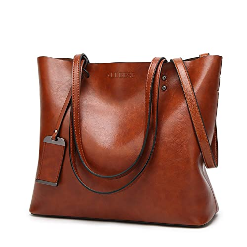 00d28255b3 Womens Soft Leather Handbags Large Capacity Retro Vintage Top-Handle Casual  Tote Shoulder Bags Brown