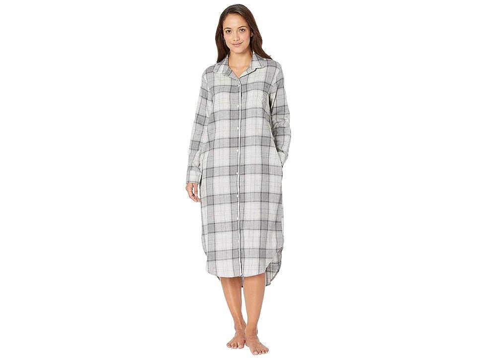 LAUREN Ralph Lauren Long Sleeve Ballet Length Sleepshirt (Grey Plaid) Women