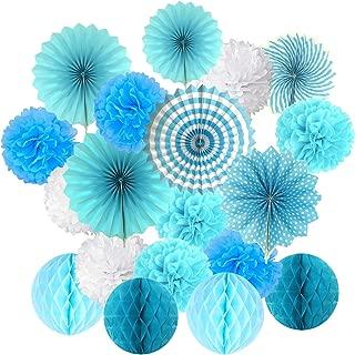 Cocodeko Hanging Set, Tissue Paper Poms Flower Fan and Honeycomb Balls for Birthday Baby Shower Wedding Festival Decorations-Blue, 3 Gram