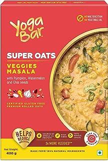 Yogabar Veggie Masala Oats 400g | Masala Oats with 3X More Veggies, Pumpkin, Watermelon and Chia Seeds | Gluten Free, Non ...