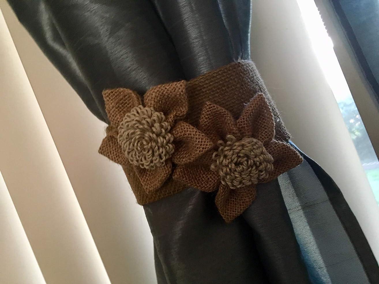 Burlap Curtain Rope Tieback, Natural Cotton handmade Black/Burlap flowers home decore Curtain tie back,2pcs Shabby chic curtains,Nusery decor,Burlap Curtain Tie Back,Nursery Decor,Girls Curtain
