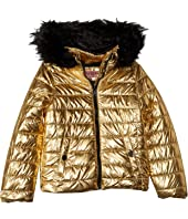 Lana Metallic Foil Puffer Jacket w/ Colored Faux Fur (Little Kids/Big Kids)