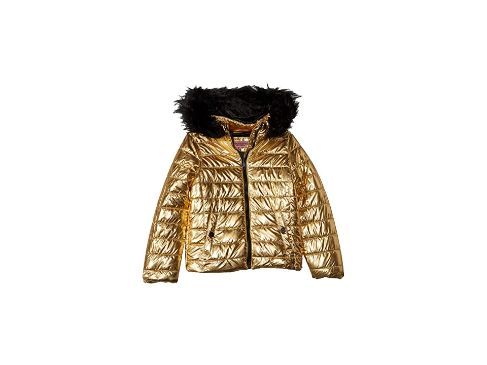 Urban Republic Kids Lana Metallic Foil Puffer Jacket w/ Colored Faux Fur (Little Kids/Big Kids) (Gold) Girl
