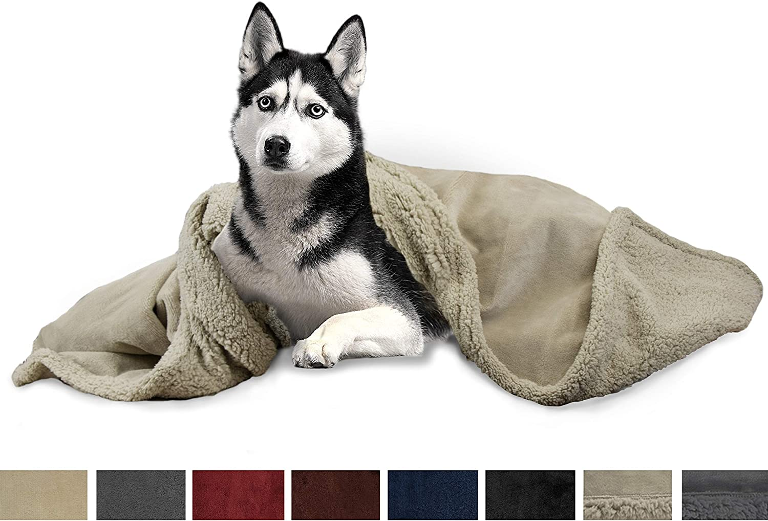 PetAmi Deluxe Dog Blanket for Large Dogs   Sherpa Fleece Pet Throw Blanket for Couch Sofa Bed   Soft Durable Reversible Furniture Predector for Medium Dog Cat Puppy  50x40 TaupeTaupe
