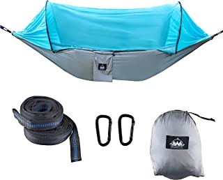 Greenside co. Hammock With Mosquito Net Lightweight Portable Double Hammock for Indoor or Outdoor, Plus Easy Tree Straps, Carabiners, Bug Netting, Storage Bag, Camping, Hiking, Backyard, Traveling