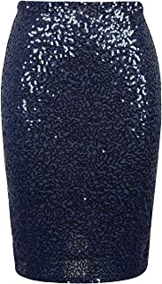 L'VOW Women's Sequin Skirt High Waist Stretchy Sparkle Pencil Skirt Cocktail Party Bodycon Skirt