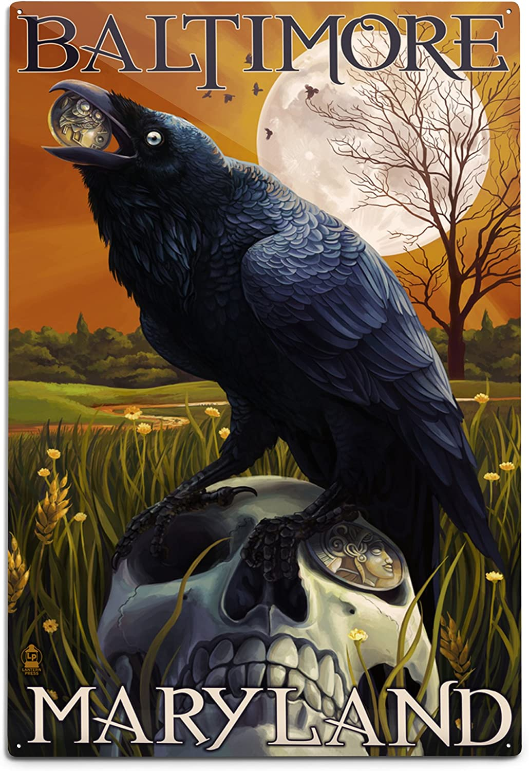 Lantern Press Baltimore Maryland Raven and 12x18 online Courier shipping free shipping shop Alumin Skull