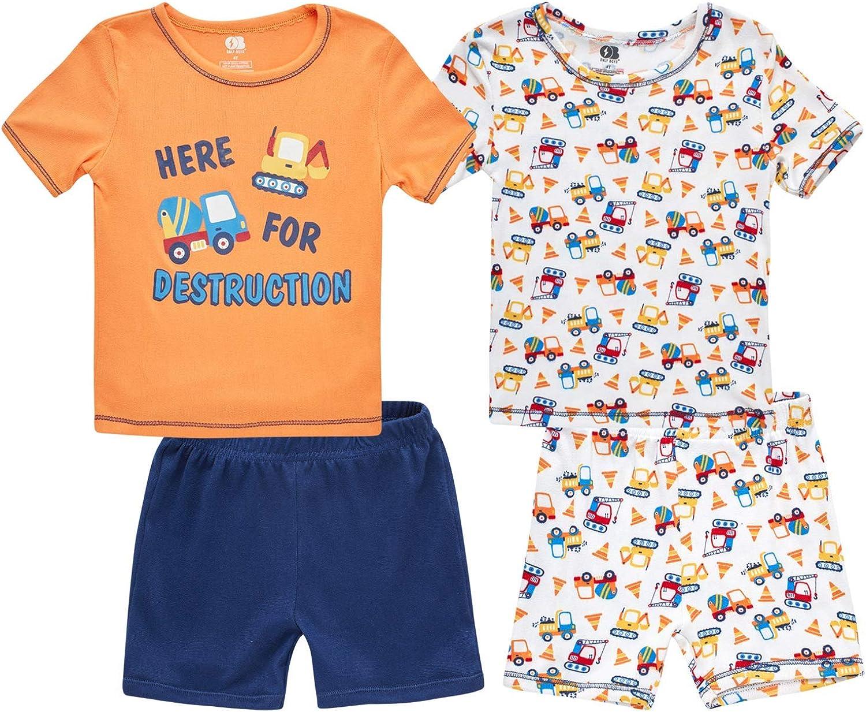 Only Boys Baby Boys' Pajama Set - 4 Piece Short Sleeve T-Shirt and Shorts Sleepwear Set (Infant/Toddler), Size 2T, Orange/White Trucks