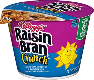 Kellogg's Raisin Bran Crunch Cereal in a Cup - High Fiber Breakfast, Non-Perishable Cereal Cups (Pack of 12, 2.8 oz Cups)