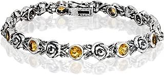 Paz Creations 925 Sterling Silver Gemstone and Rose Tennis Bracelet