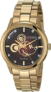 Eco-Drive Quartz Watch with Stainless Steel Strap, Gold, 22 (Model: FE7082-53W)