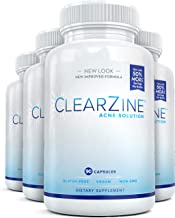 ClearZine Acne Pills for Teens & Adults (4 Bottles)   Clear Skin Supplement, Vitamins for Hormonal & Cystic Acne   Stop Breakouts, Oily Skin with Milk Thistle, Pantothenic Acid & Zinc, 90 Caps Each