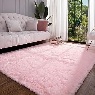 Keeko Premium Fluffy Pink Area Rug Cute Shag Carpet,...