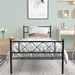 Weehom Twin Bed Frame,12.7 inch Metal Platform Bed Frame with Storage Bed for Kids Girls Boys Adults with Steel Headboard Footboard No Box Spring Needed Black
