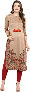 Janasya Women's Brown Poly Silk Straight Floral Print Kurta