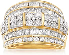 Ross-Simons 2.00 ct. t.w. Baguette and Round Diamond Multi-Row Ring in 18kt Gold Over Sterling For Women