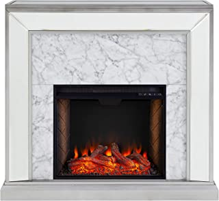 Southern Enterprises Trandling Mirrored Alexa-Enabled Smart Fireplace with Faux Stone, Antique Silver/White