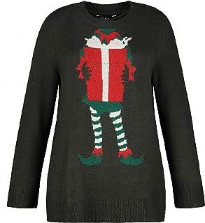 ULLA POPKEN Pullover mit Weihnachtself Maglione, Grau, Grande Taglia Donna
