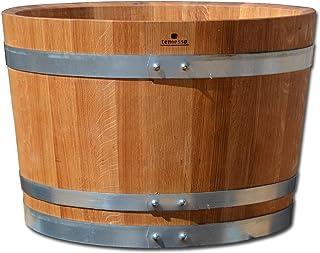 Nouveau fabriqué tonneau, bac à fleurs, jardinière, fût de chêne - en bois massif de chêne, huilé et avec roulettes (4) (D...