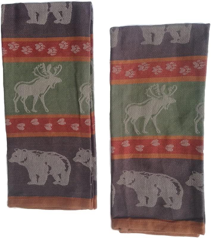 Moose And Bear Track Cotton Jacquard Kitchen Towel Set Of 2