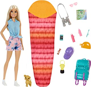 """Barbie It Takes Two """"Malibu"""" Camping Doll (11.5 in Blonde) with Pet Puppy, Backpack, Sleeping Bag & 10 Camping Accessorie..."""