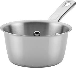 Ayesha Curry Home Collection Stainless Steel Sauce Pan/Saucepan, 1 Quart, Silver