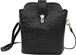 AmbraModa SL 704 - Borsa a tracolla donna piccola, borsa a spalla, piccola borsa italiana realizzata in vera pella. (nero)