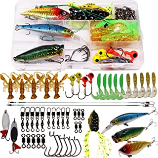 SUPERTHEO Fishing Lure Set Fishing Spoons Frog Lures Soft Hard Metal Lure Rattle Crank Popper Minnow Pencil Jig Hook for Trout Bass Salmon with Tackle Box