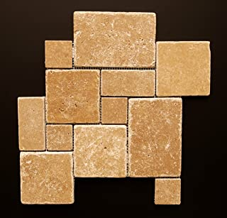 Noce Travertine Tumbled 4-Piece Opus Mini-Pattern Mosaic Tile
