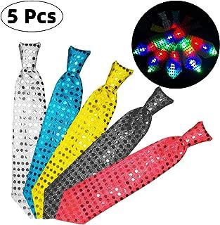Danolt 5 Stücke LED-Blitz Krawatte Mix Farbe Glowing Tie Leuchten Spielzeug Unisex Glitter Krawatte für Kinder Party Maskerade Tanzen Bühne Halloween Weihnachten