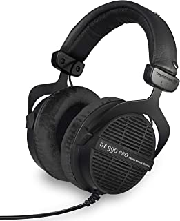 beyerdynamic DT 990 PRO Over-Ear Studio Monitor Headphones - Open-Back Stereo Construction, Wired (80 Ohm, Black (Limited Edition)) (Renewed)