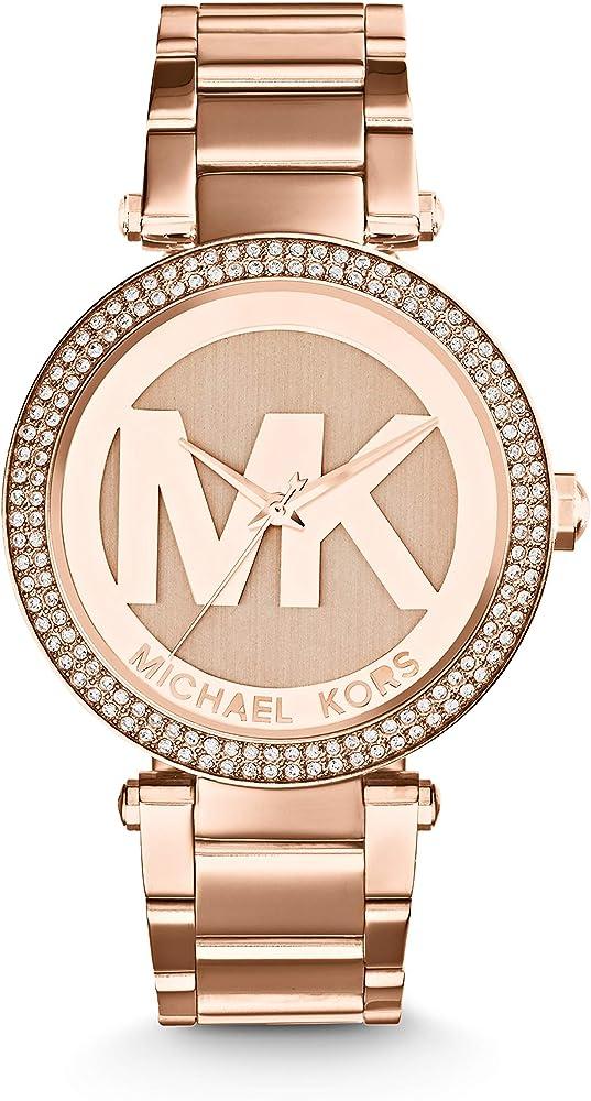 Michael kors, orologio analogico al quarzo per donna, in acciaio placcato rose gold ip con glitz MK5865