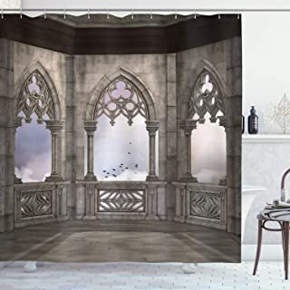 Ambesonne Gothic Decor Collection, Medieval Stone Balcony with Curvings Graphic Design Mystic Middle Age Legend Story Print, Polyester Fabric Bathroom Shower Curtain, 84