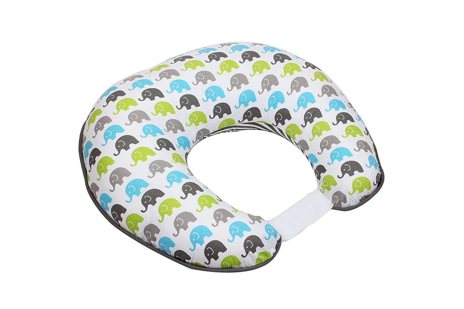 Bacati - Elephants Aqua/Lime/Grey Nursing Pillow Cover Ultra-Soft 100% Cotton Fabric in a Fashionable Two-Sided Design, Fits All Hugster Nursing Pillows and Positioners