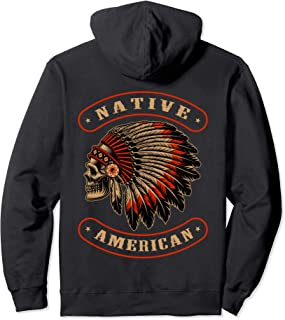 Native American Indians Chief Skull War Bonnet Feather Hat Pullover Hoodie