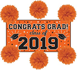 Party City Orange Congrats Grad 2019 Graduation Wall Decorating Supplies with Banner and Tissue Paper Pom Poms