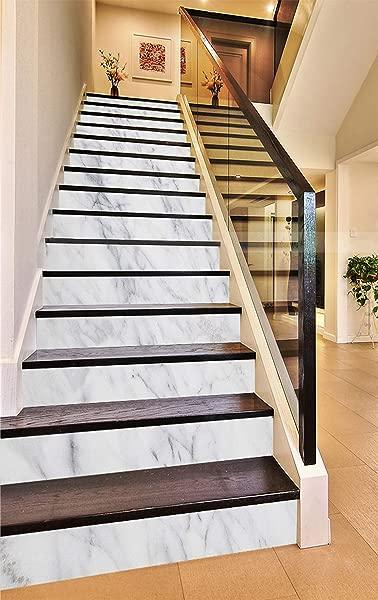 3D Elegant White 937 Pattern Tile Marble Stair Risers Decoration Photo Mural Vinyl Decal Wallpaper Murals Wallpaper Mural AJ WALLPAPER US Maze 13x H 18cm X W 94cm 7 X37