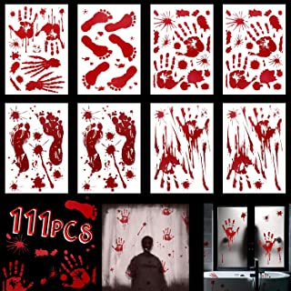 Tinabless Halloween Decorations Window Decals Wall Stickers Decor, Bloody Handprint Footprint for Bathroom Halloween Zombie Vampire Party Decorations Supplies, 8 Sheets(111 Pcs)
