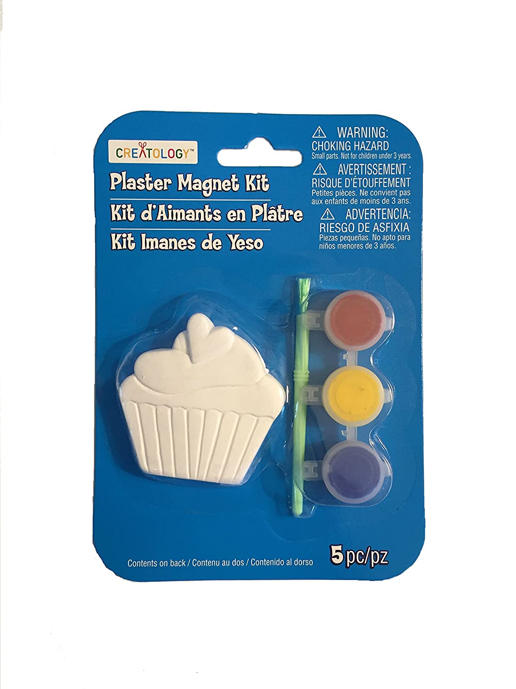 Creatology Cupcake Plaster Magnet Kit 5 Piece Set With Brush and Paint