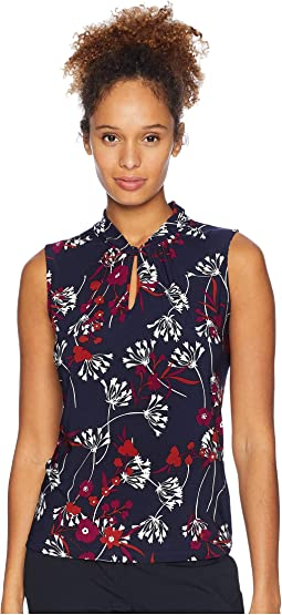 Floral Printed Knot Keyhole Knit