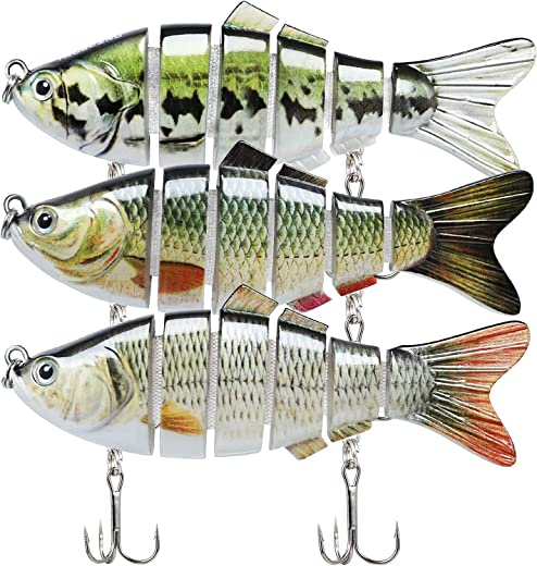 TRUSCEND Fishing Lures for Bass Trout Segmented Multi Jointed Swimbaits Slow Sinking Swimming Lures for Freshwater Saltwater Fishing Lures Kit