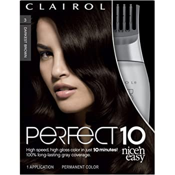 Clairol Nice'n Easy Perfect 10 Permanent Hair Color, 3 Darkest Brown, Pack of 1