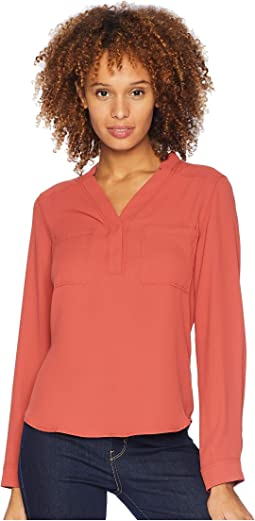 Long Sleeve Lightweight Crepe Two-Pocket Blouse