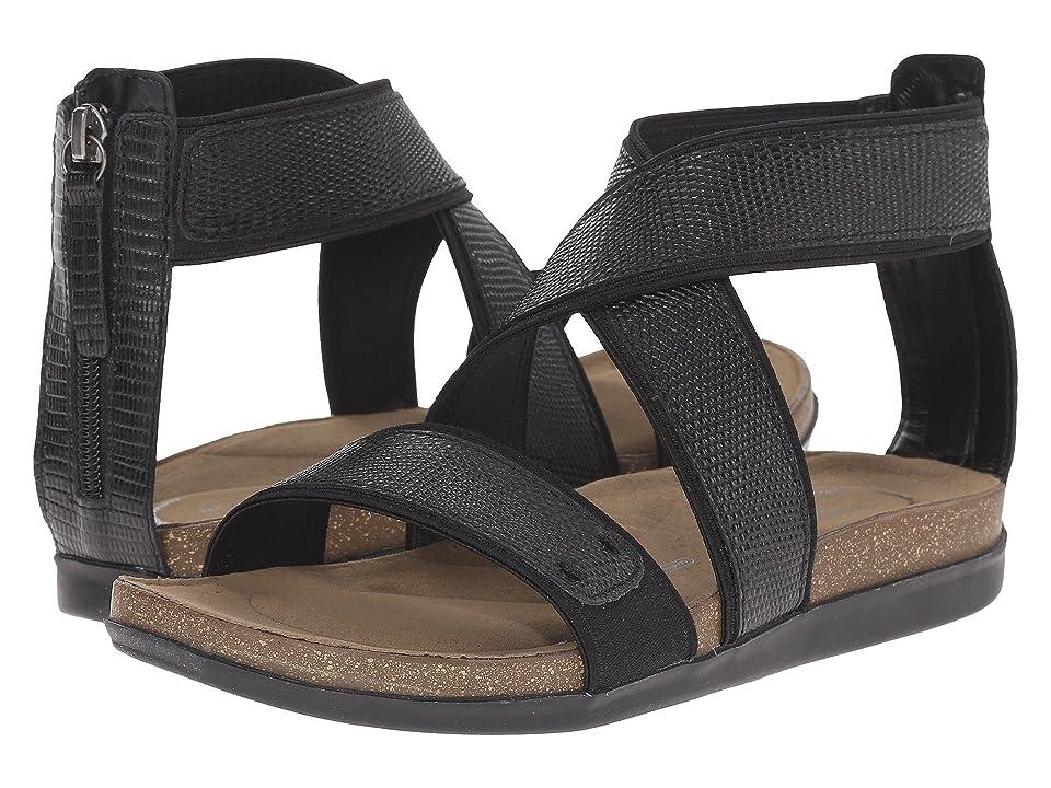 Rockport Total Motion Romilly Back Zip Sandal (Black Lizard) Women