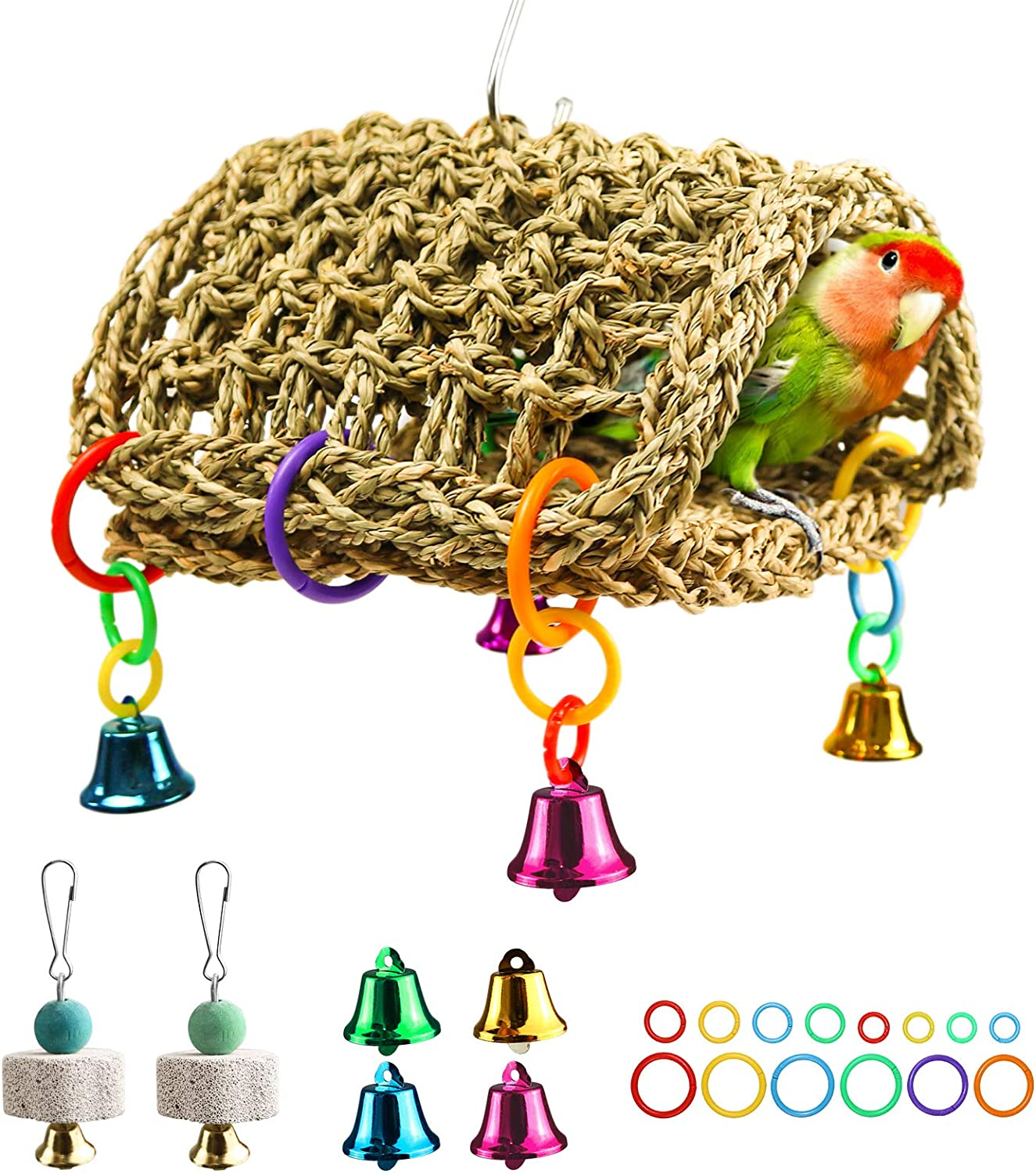 Bird Cheap sale Seagrass Tucson Mall Hammock DIY Toys Parrot Hangin Nest Hut Shed House