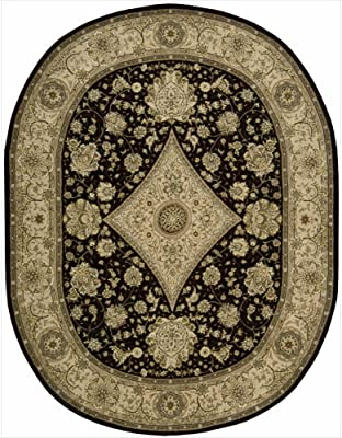 """Nourison Nourison 2000 (2239) Black Oval Area Rug, 7-Feet 6-Inches by 9-Feet 6-Inches (7'6"""" x 9'6"""")"""