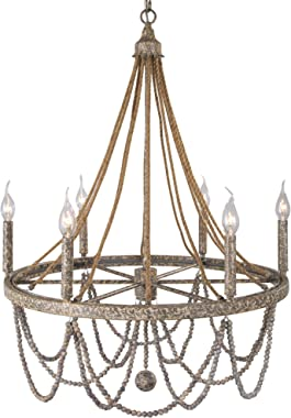 LNC Empire Chandelier, Farmhouse Dining Room Chandeliers with Hemp Ropes, French Country Lighting Fixtures with Wood Beads, 2